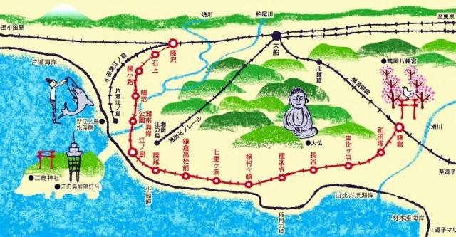 購買江之電一日乘車券,既可暢遊大船 > 江之島 > 鎌倉各大景點,還可以乘坐一種很特別的交通工具 -- 湘南單軌列車 (Monorail)。(網上圖片)