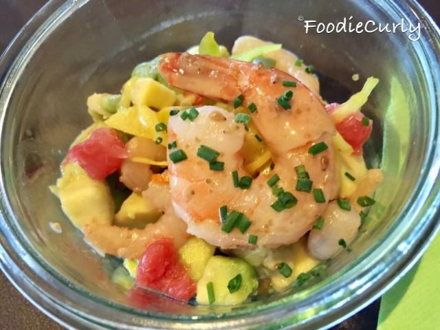 Prawns and avocado, speil salad, with a sesame dressing