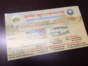 Mekong Express 車票,另外,某些旅館是用Voucher當作車票的