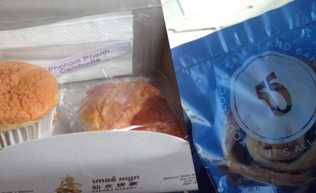 來自仙女餅家的蛋糕、雞批(左)及Blue Pumpkin的提子卷(右)。