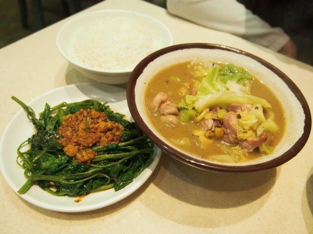 麻油雞跟套餐,有飯,仲有肉燥燙青菜