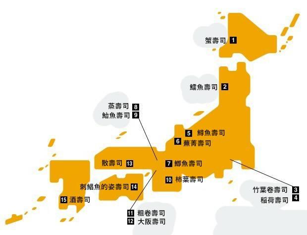 壽司種類地區一覽圖